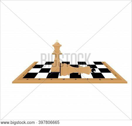 Figures Of Wooden Chess On Chessboard. King, Queen Of Opposing Teams. Flat Style Vector Illustration