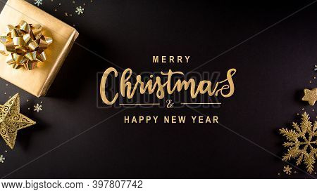 Christmas And New Year Background Concept. Top View Of Christmas Gift Box, Star, Christmas Ball And