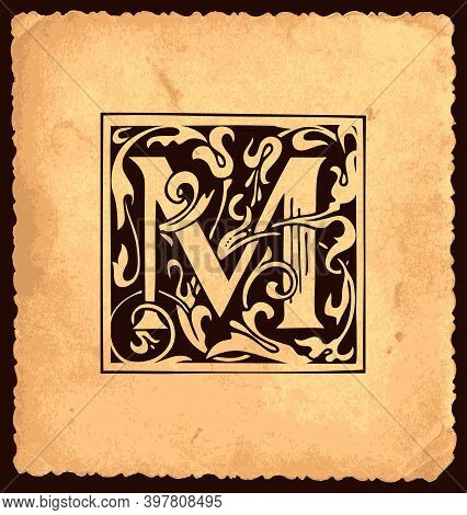 Black Initial Letter M With Baroque Decorations Pn The Old Paper Background In Vintage Style. Beauti