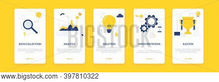 Business Solutions Onboarding Templates Set With Data Collection, Analysis, Solution, Implementation