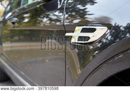 Berlin, Germany - October 2020: Bentley Bentayga Hybrid Suv Bodywork Metallic Surface Of Racing Vehi