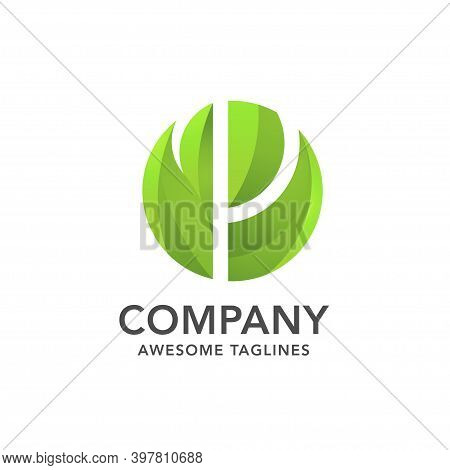 Circle Green Leaf With Hidden Letter P Logo Vector Concept, Creative Initial Letter P With Leaf Logo