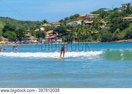 Geriba Beach, Buzios, Rio De Janeiro, Brazil - December 22, 2019: Surf In South Atlantic Coast. Beau