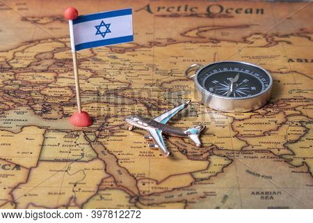 Flag Of Israel, Compass And Plane On The World Map.