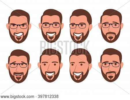 Bearded Man With Different Facial Expressions Set Vector Illustration Isolated. Set Of Different Emo
