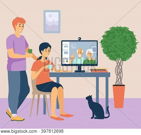 Online Communication With Elderly Relatives. Computer With A Video Call To Elderly Parents From Home