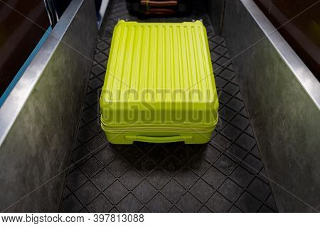 Airport Check-in Desk Counter With Weighting Luggage Belt.