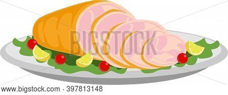 Smoked Ham Isolated, Delicious Sliced Ham Illustration For Delicatessen Uses. Illustration Vector Fl