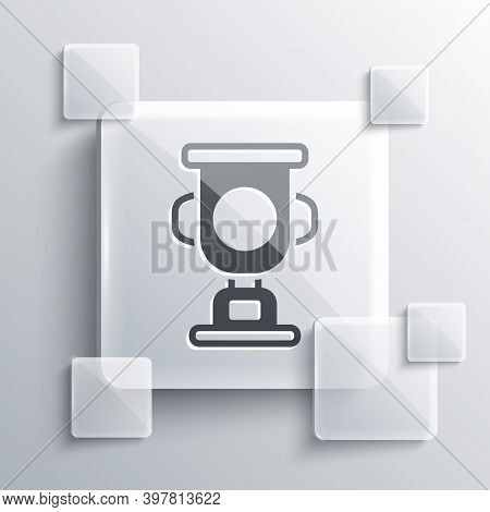 Grey Award Cup Icon Isolated On Grey Background. Winner Trophy Symbol. Championship Or Competition T