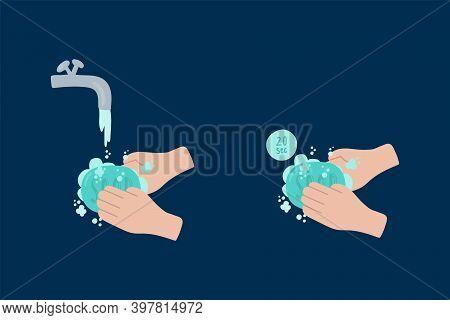 Personal Hygiene In The Coronavirus Epidemic. Illustrations Of The Prevention Of Covid 19 Coronaviru