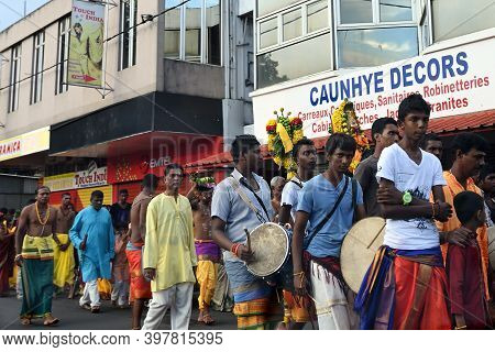 Mauritius, Africa - May 1, 2013: Festive Procession Of The Hare Krishnas On The City Street. Selecti