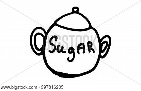 Doodle Sugar Bawl Illustration. Simple Outline Drawing. Tea And Coffee Sweetener. Hand Drawn Design