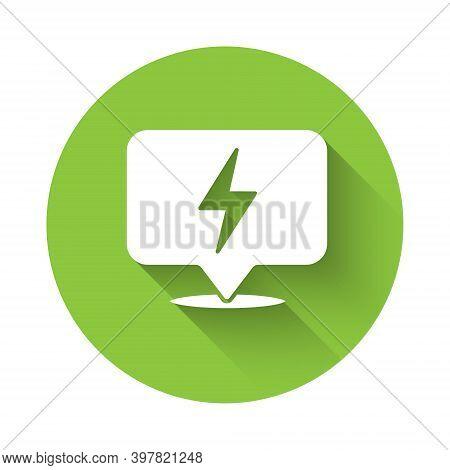 White Lightning Bolt Icon Isolated With Long Shadow. Flash Icon. Charge Flash Icon. Thunder Bolt. Li