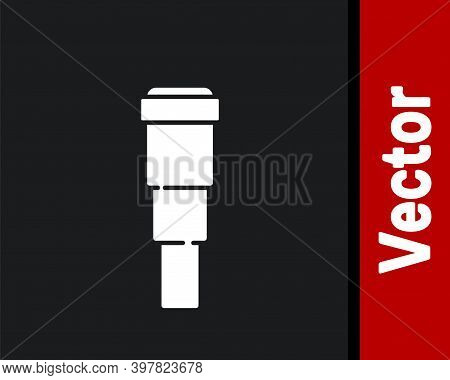 White Spyglass Telescope Lens Icon Isolated On Black Background. Sailor Spyglass. Vector