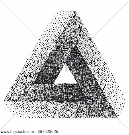 Infinity Or Impossible Triangle. Penrose Triangle With Black Dots. Unreal Geometrical Symbol For You