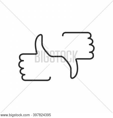 Like And Dislike Button, Thumb Up And Down Linear Icon. Stock Vector Illustration Isolated On White