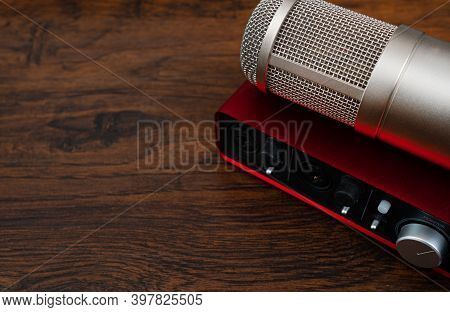 Microphone And Sound Card. Home Recording Studio.