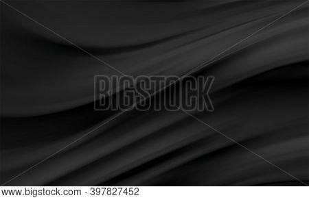 Smooth Elegant Black Satin Texture Abstract Background. Luxurious Background Design