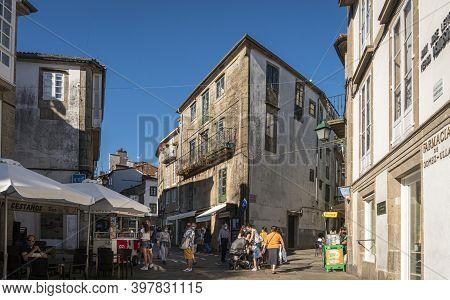 Santiago De Compostela, Spain, July 2020 - Street View In The City Of Santiago De Compostela, Spain