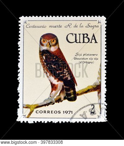 Cuba - Circa 1971 : Cancelled Postage Stamp Printed By Cuba, That Shows Cuban Pygmy Owl (glaucidium