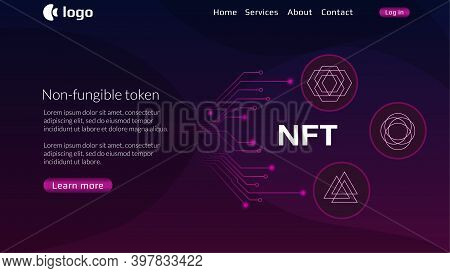 Website Header Template For Nft Nonfungible Tokens With Pcb Tracks And Unique Coins On Dark Backgrou