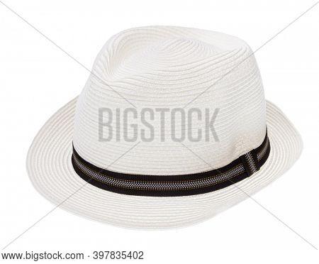 Summer panama hat with black ribbon isolated on white background
