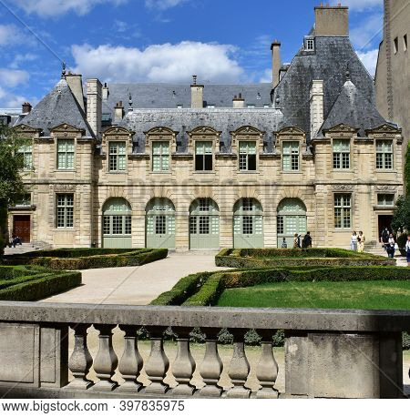 Paris, France. Aug 14, 2019. Hotel De Sully Palace, Louis Xiii Style Mansion, Located At Le Marais N