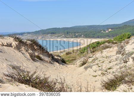 Beach With Sand Dunes And Turquoise Water. Porto Do Son, Rias Baixas, Coruña, Galicia, Spain.