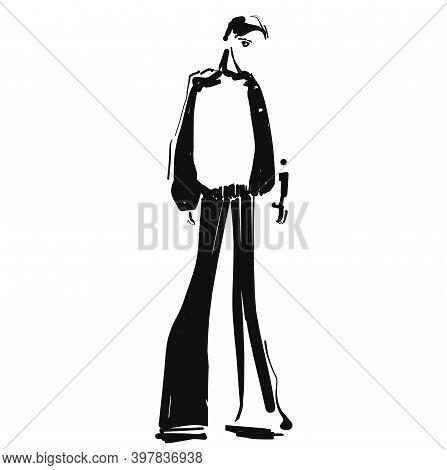 Fashion Model Sketch. Cartoon Person. Girl In Pants