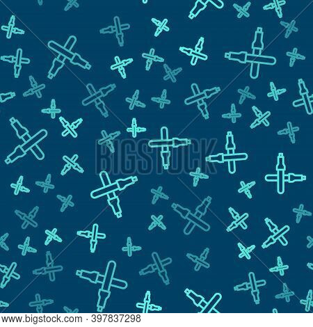 Green Line Marshalling Wands For The Aircraft Icon Isolated Seamless Pattern On Blue Background. Mar