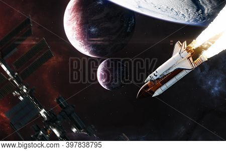 Planets In Deep Space. Space Shuttle In Planetary Orbit. Flying Space Station. Science Fiction. Elem