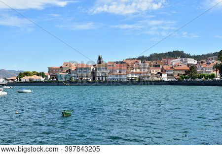 Corcubion, Spain. July 5, 2020. Small Fishing Village At Famous Rias Baixas. Coruña Province, Galici
