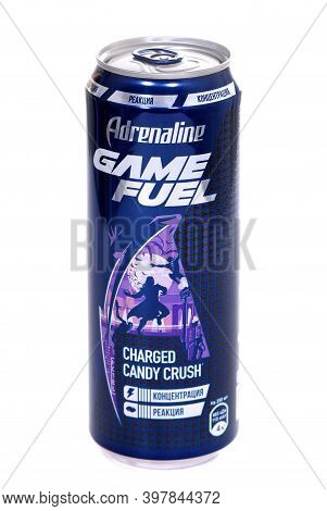 Novyy Urengoy, Russia - November 28, 2020: Aluminium Can Of The Adrenaline Game Fuel Charged Candy C