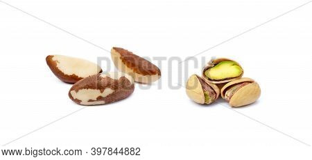 Para Nuts Isolated And Pistachio Nuts Isolated On White Background