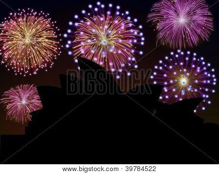 Fireworks Happy New Year Sidney City
