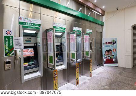 Taipei, Taiwan - Oct 1st, 2020: ATM of chunghwa post Taipei, Taiwan