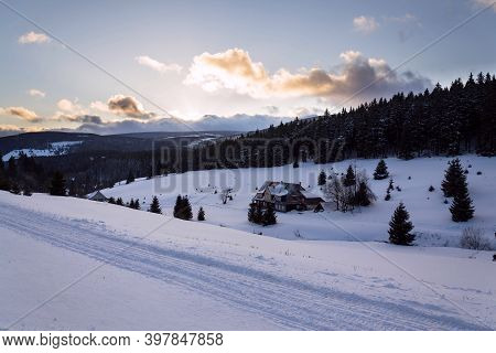 Snezka, The Highest Mountain In The Czech Republic, Krkonose Mountains, Snowy Winter Day, Polish Met