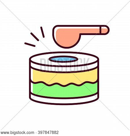 Drums Rgb Color Icon. Ramadan Music Instrument. Waking Up All People Before Dusk To Eat Food. Specia