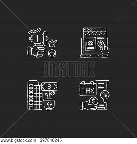 Modern Entrepreneurship Chalk White Icons Set On Black Background. Business Management And Developme