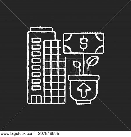 Company Growth Chalk White Icon On Black Background. Successful Business Development, Profitable Ent