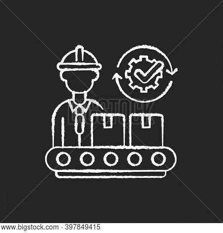 Goods Manufacturing Chalk White Icon On Black Background. Industrial Entrepreneurship, Production Pr