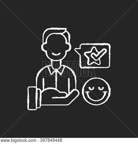 Customer Satisfaction Chalk White Icon On Black Background. Good Reputation Development, Satisfied C