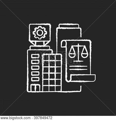 Legal Entity Chalk White Icon On Black Background. Modern Entrepreneurship, Business Office Rent Con