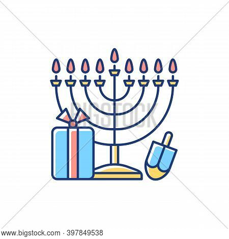 Nine-branched Menorah Rgb Color Icon. Judaism Symbol. Hanukkah Celebration. Candelabrum With 9 Stand