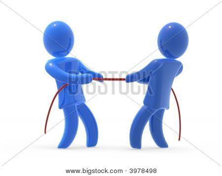 Two figures warping wit rope. Concept of competition on the market. poster