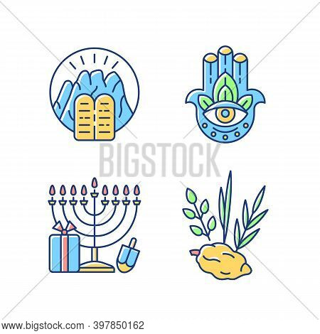 Judaism Beliefs Rgb Color Icons Set. Stone Tablets. Hamsa Hand. Nine-branched Menorah. Four Species.