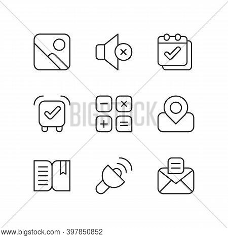 Smartphone Interface Pixel Perfect Linear Icons Set. Photo Gallery. Silent Mode. Calendar. Alarm Clo
