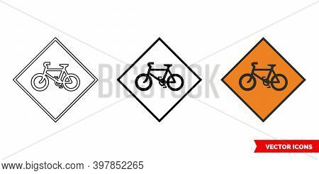 Cyclists Roadworks Sign Icon Of 3 Types Color, Black And White, Outline. Isolated Vector Sign Symbol