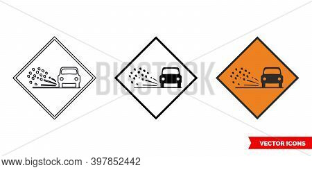 Loose Chippings Roadworks Sign Icon Of 3 Types Color, Black And White, Outline. Isolated Vector Sign