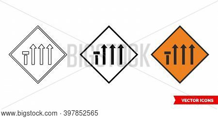 Nearside Lane Of Four Closed Roadworks Sign Icon Of 3 Types Color, Black And White, Outline. Isolate